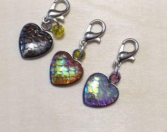Mermaid Heart Stitch Marker | Stitch Markers | Progress Keeper | Zipper Pull | Planner Charm