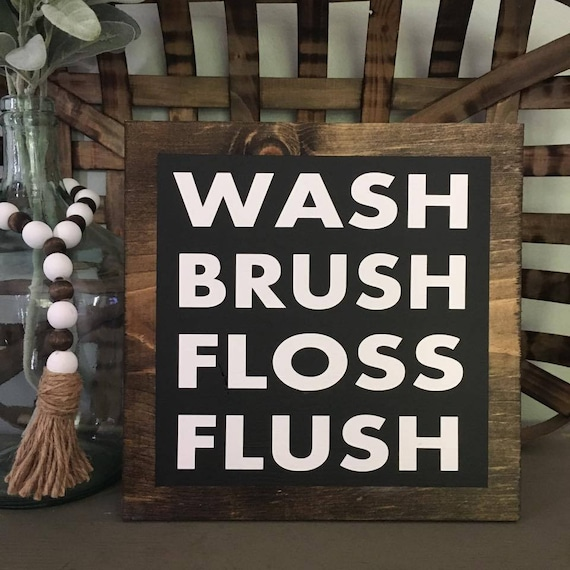 Faux Frame, Wash Brush Floss Flush, Bathroom Sign, Farmhouse Decor, Wood Sign