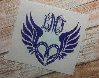 Wings of Love Decal/Wings of Love Monogram/Wings of Love Sticker/ Wings Decal/ Heart Decal/ Decal/ Monograms/YETI