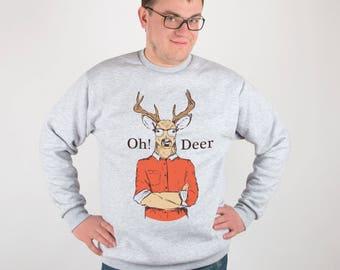Deer Jumper Christmas Sweatshirt Oh Deer Sweatshirt Christmas Sweater Christmas Outfit Animal Print Sweatshirt Xmas Sweater Xmas Gift PA3034