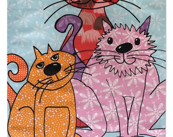 Cat tea towel, cotton feline dish towel, pretty kitchen towel. Cute cat's kitchen, an Easter gift for cat lovers from MollyMac. Hostess gift