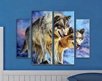 Extra Large Wall decor 4 Panel Canvas, Photo Print on Canvas, Wolves Wall Art,  Large Canvas art, Interior Art, Room Decoration, Photo gift