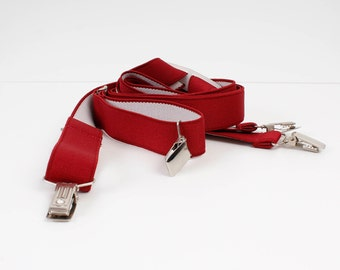 Vintage Rubber Braces Red Ornamented Mens Adjustable Suspenders Hippie Braces