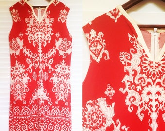 Vintage 1960s Red and White Patterned Shift Dress, L-XL