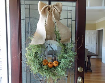 Fall Wreath-Fall Wreaths for Front Door-Thanksgiving Wreath-Pumpkin Wreath-Autumn Wreath-Fall Door Wreaths-Front Door Wreaths-Wispy Wreath