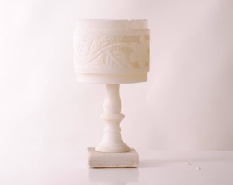 carved in stone/flashlight modernist french marble lamp