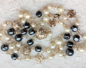 Chanel inspired long pearl necklace with vintage Chanel beads