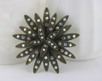 Vintage Starburst Brooch, Rhinestone Brooch, Starburst Pin, Atomic Brooch, Art Deco Brooch Pin, Vintage Starburst, Gatsby Brooch, Flower Pin
