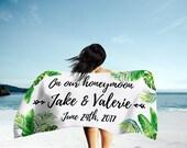 Personalized Honeymoon Towel - Honeymoon Gifts - Honeymoon Beach Towels - Gifts For Newlyweds - Palm Beach Blanket- Customized Newlywed Gift