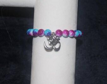 OM Charm Bracelet, pink/blue