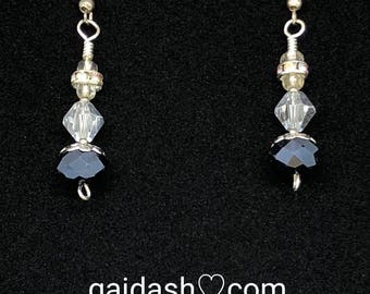 Indigo Blue Moon Crystal Beads & Half Coat Silver Crystal Bicone Earrings.Handmade sterling silver wire wrap jewelry gift.Fashion Accesories