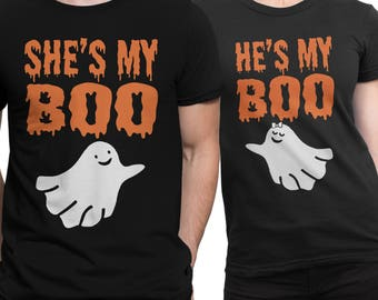 MY BOO Halloween His and Hers Couple T-shirt Black