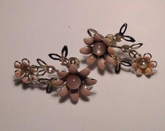 Anniversary Sale Vintage Pink Flower and Rhinestone Earrings