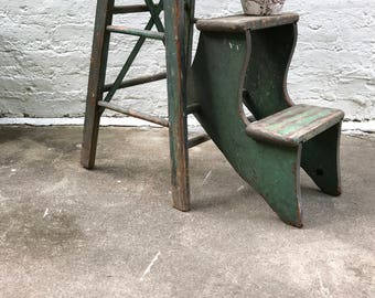Stool and Step Stool / features vintage / wood step stool / aged green paint / farmhouse / country decor
