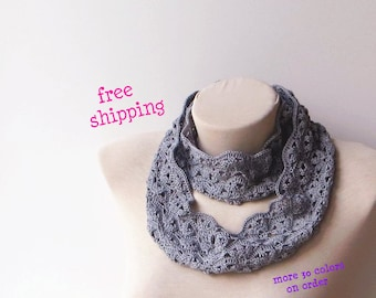 Lace infinity scarf, Knit infinity scarf, 100% Cotton, Infinity scarf crochet, Fall infinity scarf, Floral infinity scarf, Knit loop scarf.
