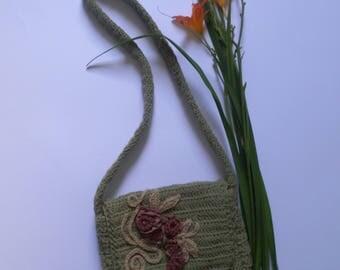 Floral Crochet Bag, Flower Bag, OOAK Bag
