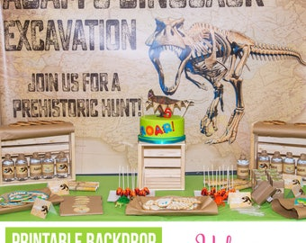 Dinosaur Party Backdrop Poster | Dinosaur Dig Birthday | Dinosaur Birthday Party | Dino Dig Backdrop | Personalized Printable Party Poster