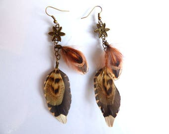 Earrings Woodcock - jewelry natural feather and pheasant feathers and chains - gift women - elegant - hunting - country