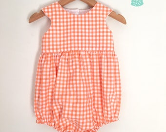 Size 1 vintage orange gingham romper