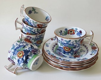 Vintage Set of 5 Booths 'The Pompadour' Silicon China Demitasse Coffee Cups and Saucers Made in England 1920s