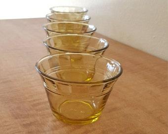 5 Vintage Fortcrisa Custard Cups Amber