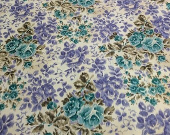 Purple and Green Flowers on Beige Cotton Fabric