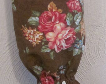 Plastic Grocery Bag Holder/Trash Bag Holder/Floral Bouquets on Brown Background / Organize Neaten Kitchens/Bathrooms/Campers. Great Gift