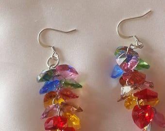 Swarovski crystal - earrings multicolored hearts.