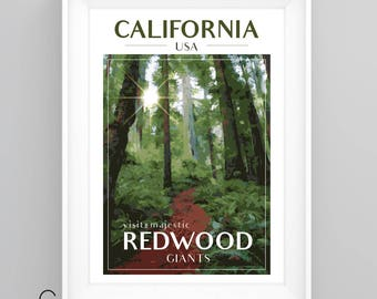 CALIFORNIA REDWOODS Sequoia National Park Vintage Travel Poster, A4/A3 Print, Custom Options.