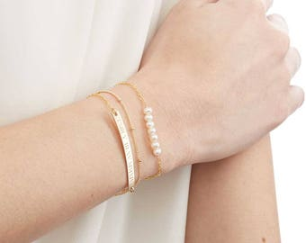 Custom Gold Bar,Satellite Chain,Freshwater Pearl Bracelet Set of 3-Engraved-Personalized Name/Date-BFF-Wedding-Gold Rose Silver-CG301B