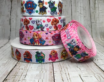 "1"" - 7/8"" Patrol Dogs Cartoon Characters TV Movie Hearts Animal Pet Paw Pink White Stripe Grosgrain Hairbow Ribbon  - Sold by 5 Yards"