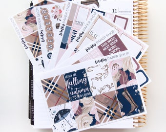 Hello Fall Weekly Kit (stickers for Erin Condren Life Planner - Vertical)
