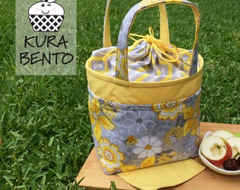 Bento Lunch Bag in Yellow and Gray Floral