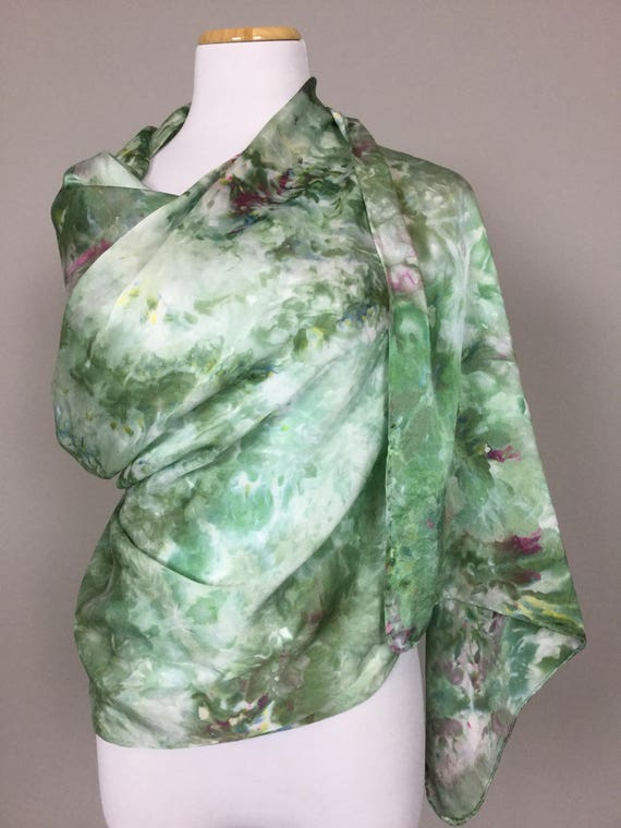 "NEW SIZE 100% Silk WRAP Ice Dyed in Beautiful Olive Sage Greens Artistic Watercolor 22""x90"" Elegant Rectangle Wrap Oblong Coworker Gift #174"