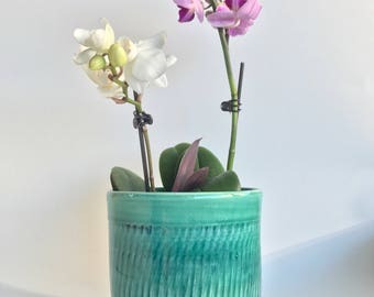 Handmade Green Ceramic Flower Pot with Holes