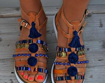 "Boho Flats, Handmade Sandals, Boho Sandal, Greek Leather Sandals, Pom Pom Sandals, Hippie sandals, Festival Sandals, Women sandals ""Sparti"""