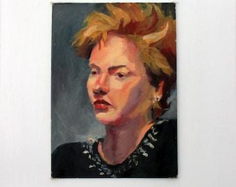 Vintage Portrait Painting of a Woman: Punk 80s Woman Portrait