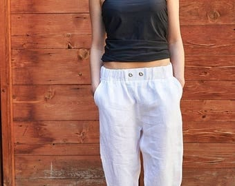 SALE White Linen Pants, Plus Size Clothing, Women White Trousers, Maxi White Pants, Minimalist Pants, Summer White Pants, Linen Trousers