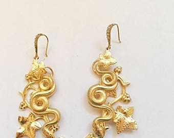 30% Off - Free Shipping Snake Earings - Handmade- Plated with 24kt Gold