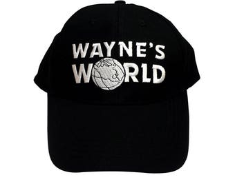 Wayne's World Baseball Cap Like The Hat Worn By Wayne Campbell In Saturday Night Live HIGH QUALITY Embroidered 90's Movie SNL Costume Black