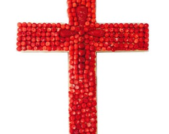 Red coral beaded cross