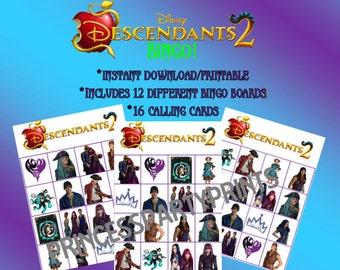 Descendants 2 Bingo-Instant Download-Printables-Uma Mal Evie