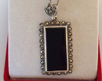 Sterling Silver Black Onyx & Marcasite Necklace, Estate Jewelry