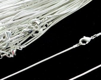 Sterling Silver Plated Necklace Snake Chain 16 Inch 4PC 10PC