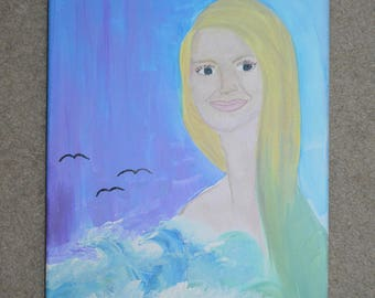 Blonde mermaid in ocean water painting