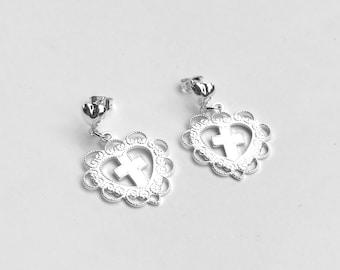 Silver Heart Cross Charm Earrings with Heart Studs
