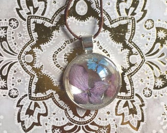 Real Tri-colored Hydrangea Flower Resin Necklace