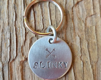 Pet Id Tag, Arrows, boho dog tag, cat tag, pet id tag, metal, hand stamped, personalized, affordable, arrows tag, dog gift, pet tag,
