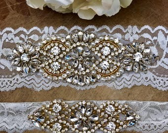 Ivory and gold Wedding Garter Set NO SLIP grip vintage rhinestones