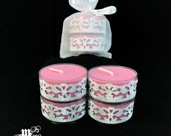 """Scented Tea Lights, Cranberry Scent, Pink and Silver, 1.5""""w x .75""""h, Soy, Organza Pouch (x3), Wedding, Bride, Tables, Dinner, Long-lasting"""
